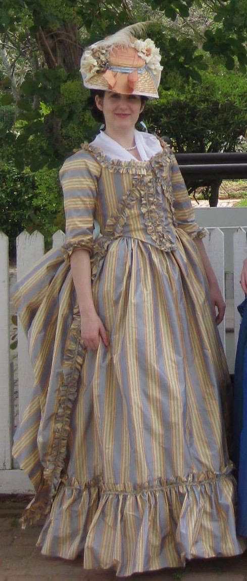 front view of 18th century dress
