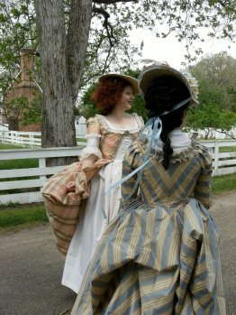 Lindsey Eastman and Kendra Van Cleave in 18th century costumes