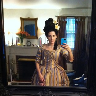 18th Century dress and wig.