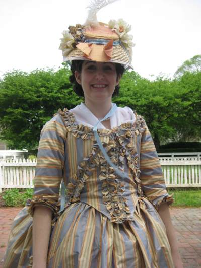 Close up of 18th century dress.