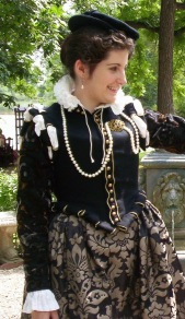 Close up of 16th Century doublet and accessories