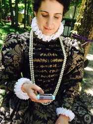 16th century costumes using a cell phone